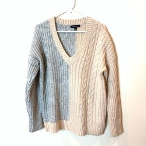 Express: double tone wool blend v neck sweater